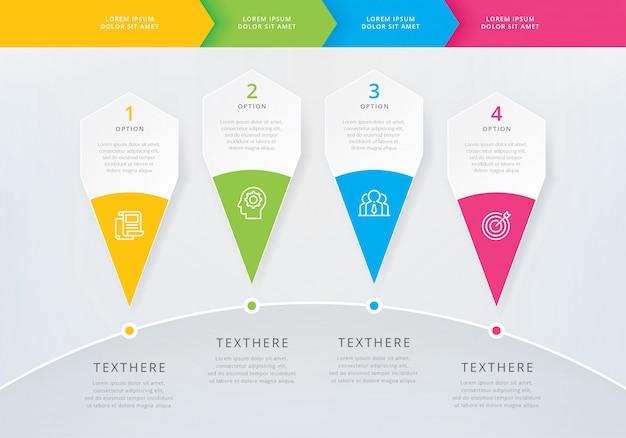 Infographic-sjabloon met 4 opties of stappen