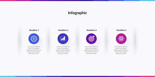 Infographic sjabloon met 4 stappen opties diensten met icoon