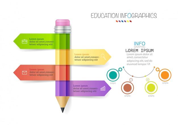 Infographic sjabloon met 4 stappen potlood met gekleurde linten