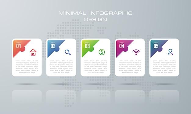 Infographic sjabloon met 5 opties, infographics ontwerp vector kan worden gebruikt voor workflow layout, - vector