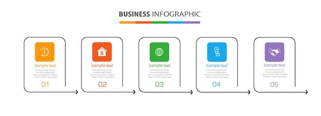 Infographic-sjabloon met 5 opties of stappen voor bedrijven
