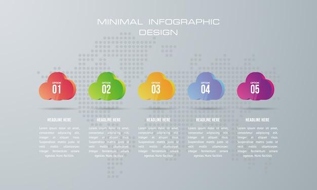 Infographic-sjabloon met 5 opties, werkstroom, processchema