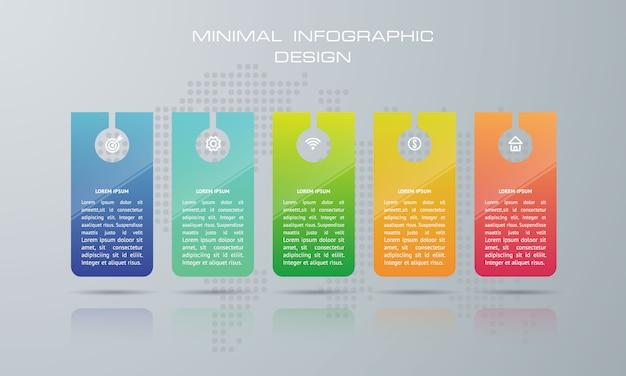 Infographic sjabloon met 5 opties, workflow, procesgrafiek, tijdlijn infographics ontwerp vector kan worden gebruikt voor workflow layout, diagram, stappen of processen
