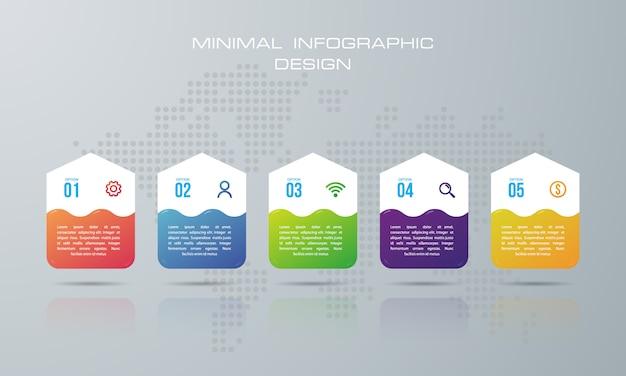 Infographic-sjabloon met 5 opties