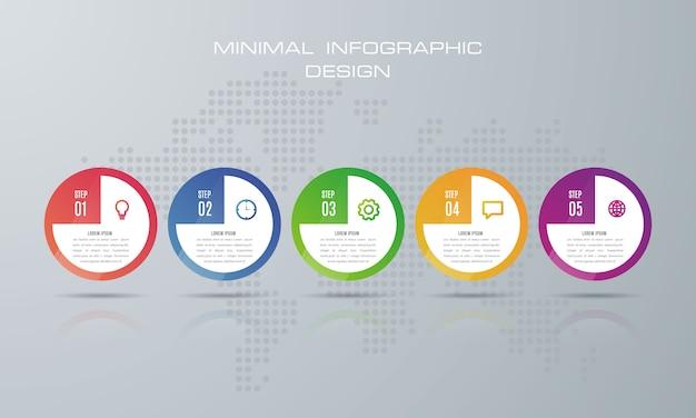 Infographic sjabloon met 5 opties