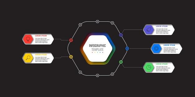 Infographic sjabloon met 5 veelkleurige zeshoekige elementen en dunne lijn pictogrammen op zwarte achtergrond