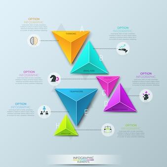 Infographic sjabloon met 6 afzonderlijke veelkleurige piramidale elementen verdeeld in paren