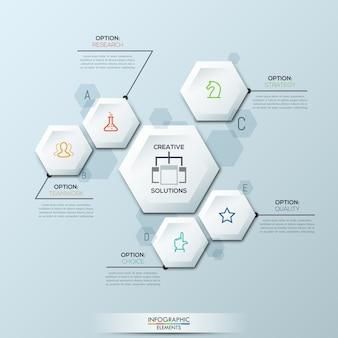 Infographic sjabloon met 6 afzonderlijke witte zeshoekige elementen