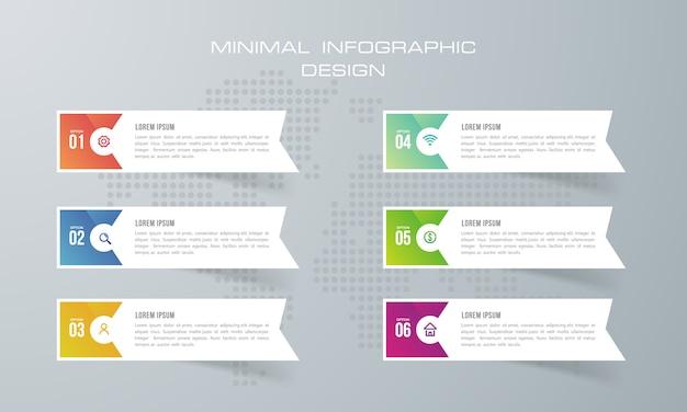 Infographic sjabloon met 6 opties, infographics ontwerp vector kan worden gebruikt voor workflow layout, - vector