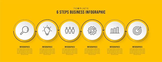 Infographic sjabloon met 6 opties op gele achtergrond zakelijke workflow met meerdere stappen