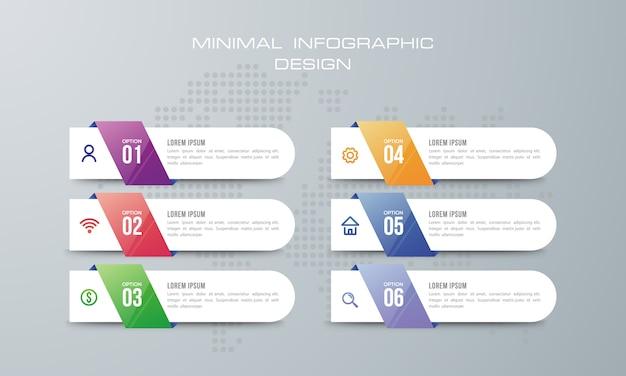 Infographic-sjabloon met 6 opties, werkstroom, procesgrafiek