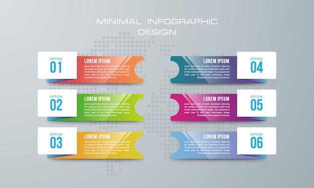 Infographic-sjabloon met 6 opties, werkstroom, processchema, tijdlijn infographics ontwerp vector