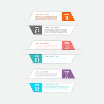 Infographic sjabloon met 6 opties