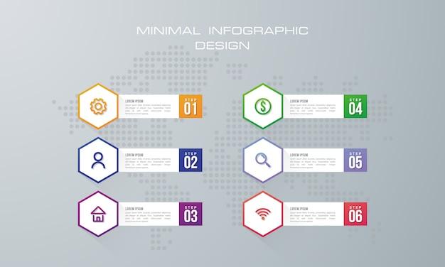 Infographic sjabloon met 6 opties.