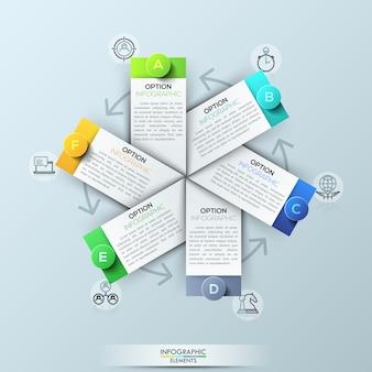 Infographic sjabloon met 6 rechthoekige elementen
