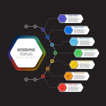 Infographic sjabloon met 7 veelkleurige zeshoekige elementen en dunne lijn pictogrammen op zwarte achtergrond