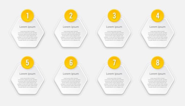 Infographic sjabloon met 8 opties of stappen