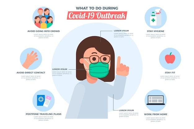 Infographic sjabloon met coronavirus