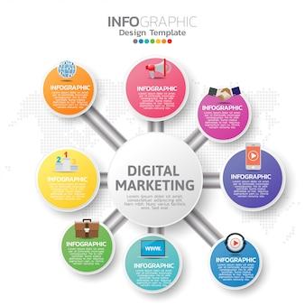 Infographic sjabloon met digitale marketing pictogrammen