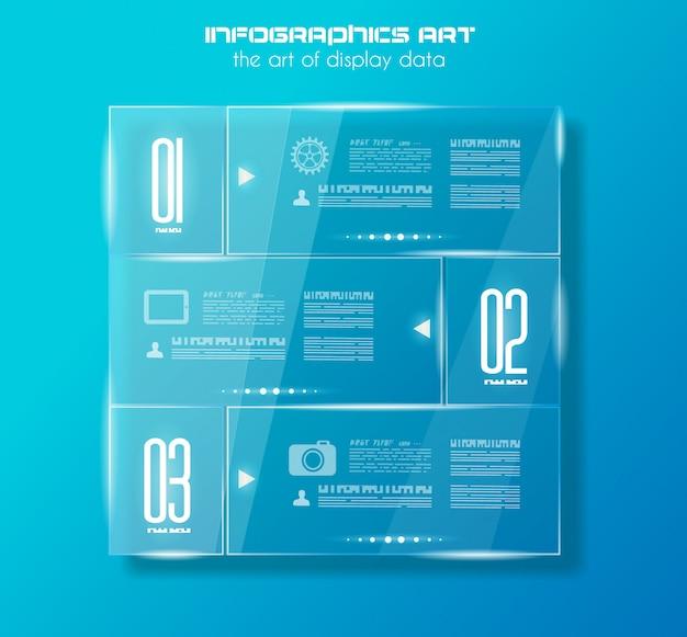 Infographic sjabloon met glazen oppervlakken.