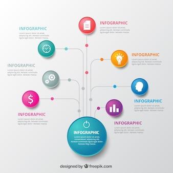 Infographic sjabloon met kleurrijke cirkels