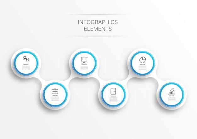 Infographic sjabloon met label, geïntegreerde cirkels. zaken met opties.