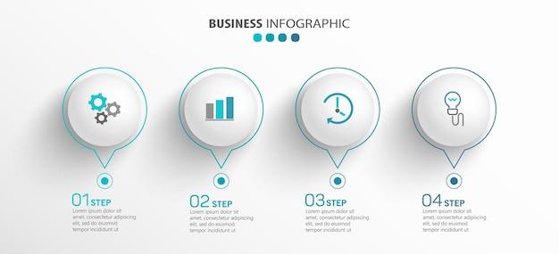 Infographic sjabloon met pictogrammen en 4 opties of stappen