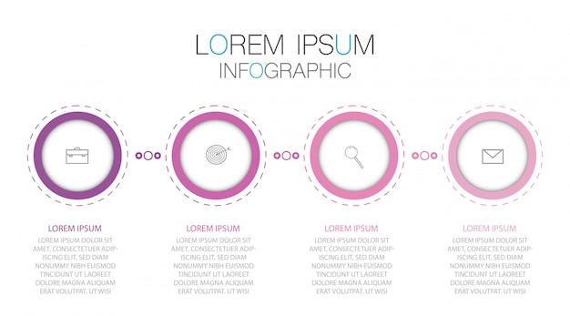 Infographic sjabloon met pictogrammen en 4 stappen.