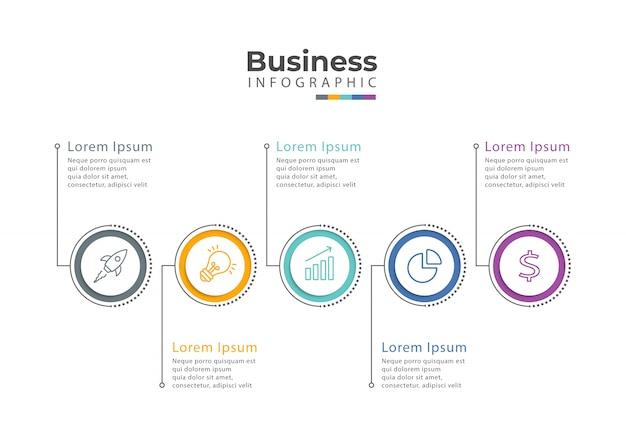 Infographic sjabloon met pictogrammen en 5 opties of stappen.