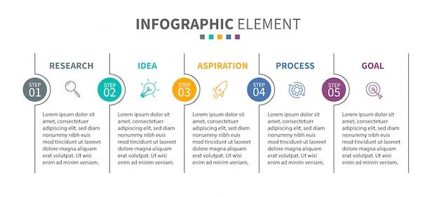 Infographic sjabloon met pictogrammen en 5 opties of stappen