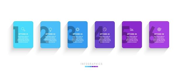 Infographic sjabloon met pictogrammen en 6 opties of stappen.