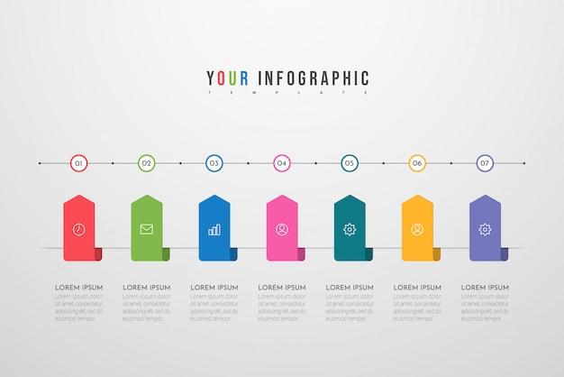 Infographic sjabloon met pictogrammen en 7 opties of stappen.