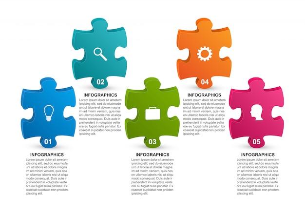 Infographic sjabloon met puzzelstuk