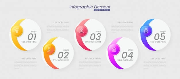 Infographic sjabloon met stappen voor succes. presentatie met lijnpictogrammen, grafiekproces sjabloon voor organisatie-elementen met bewerkbare tekst. opties voor brochure, diagram, workflow, tijdlijn, webdesign