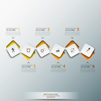 Infographic sjabloon met tijdlijn en 6 verbonden vierkante elementen in gele kleur