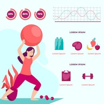 Infographic sjabloon met training van de vrouw