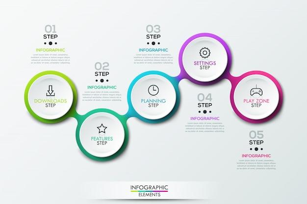 Infographic sjabloon met verbonden cirkelvormige elementen