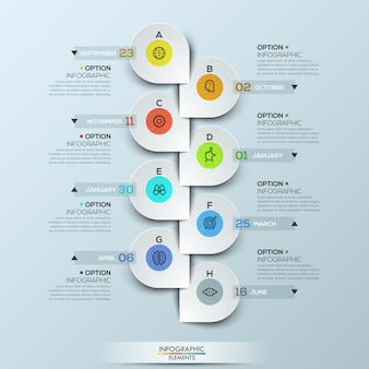 Infographic-sjabloon met verticale tijdlijn en 8 verbonden pictogrambadges