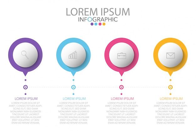Infographic-sjabloon met vier stappen of opties, workflow, processchema