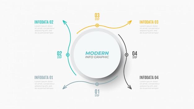 Infographic sjabloon met vier stappen