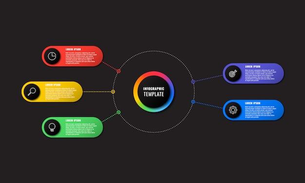 Infographic sjabloon met vijf ronde elementen