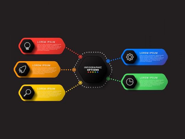 Infographic sjabloon met vijf zeshoekige elementen