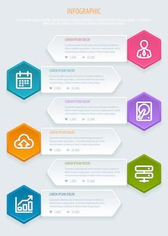 Infographic sjabloon met zeshoeken