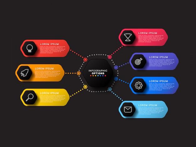 Infographic sjabloon met zeven zeshoekige elementen