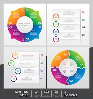 Infographic sjabloon set met moderne stijl en kleurrijk concept