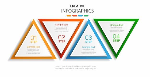 Infographic sjabloon van driehoekige elementen met opties