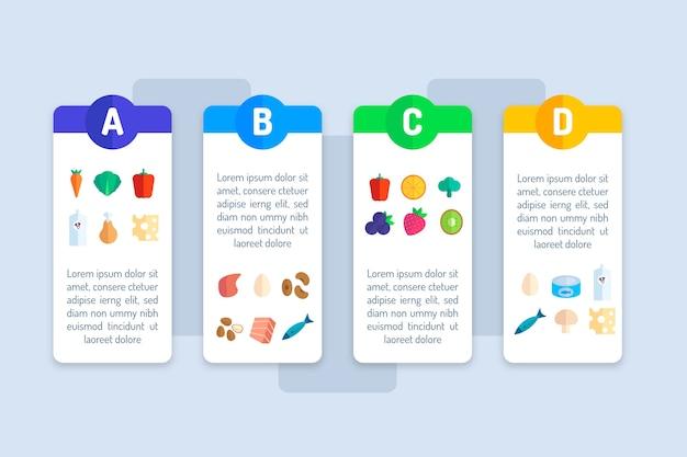 Infographic sjabloon van vitamine voedsel