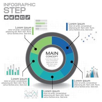 Infographic. sjabloon voor diagram, grafiek, presentatie en grafiek. bedrijfsconcept met opties, onderdelen, stappen of processen.