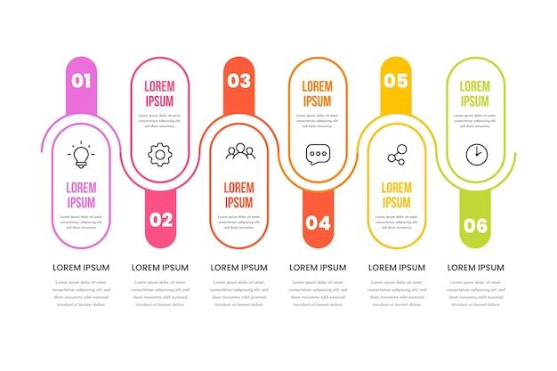Infographic-sjabloon voor lineaire platte processen
