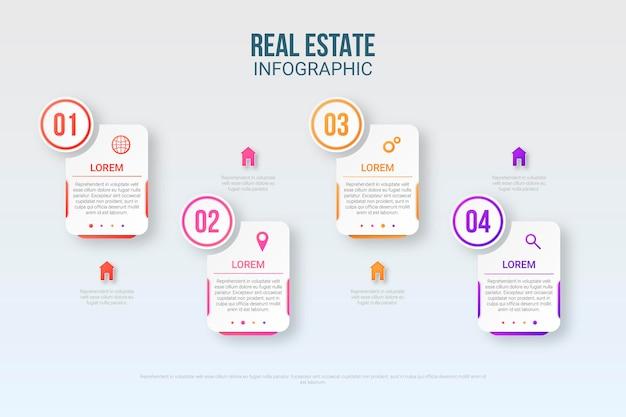 Infographic sjabloon voor onroerend goed in papieren stijl